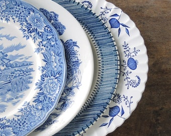 Mismatched Blue and White Dinner Plates for Weddings Set of 4 English Blue Transferware English China, Rustic Replacement China