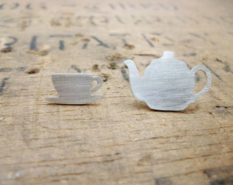 Silver tea time earrings, tea studs, tea earrings, teapot, teacup, tea earrings, tea gift , silver teapot, silver teacup