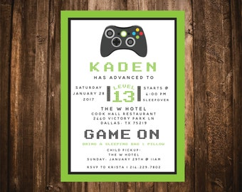 GAME ON Video Game Birthday Invitation; Green & Black; Printable or set of 10