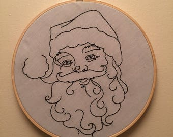 Santa Embroidery Hoop Art
