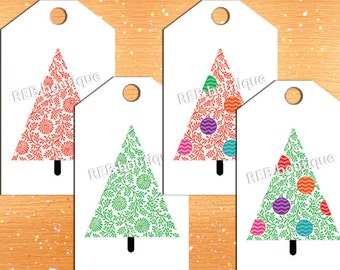 PRINTABLE Christmas Gift Tags - Holiday gift tags, Christmas tree, green, red, ornaments, PDF, digital