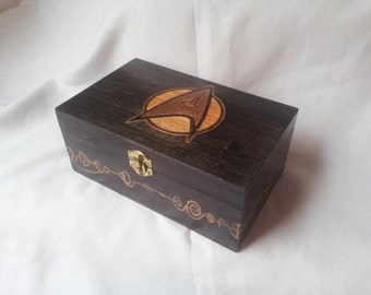 Original Star Trek Box with live long and Prosper Vulcan Script