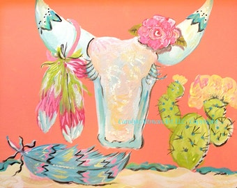 A Desert Rose is a Cute Cow Skull Painting on Canvas Board