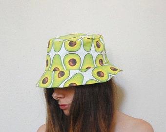 Printed bucket hat- avocado, crabs, ibis, cats