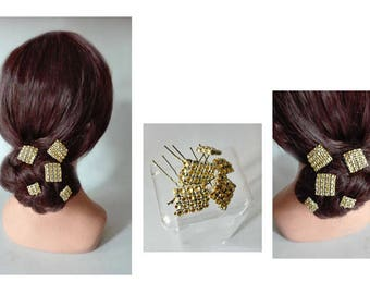 Hair pins gold evening bun, hair, quilted Hat ceremony, wedding hair jewelry