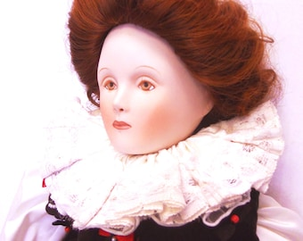 """Sale!!! Just Reduced! Queen Elizabeth I porcelain doll  Franklin Mint Collection Heirloom Doll 19"""" Queens of England Series anglophile"""