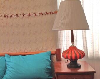Danish Mod Orange Lamp Vintage 50s Table Lamp Mid Century Lamp