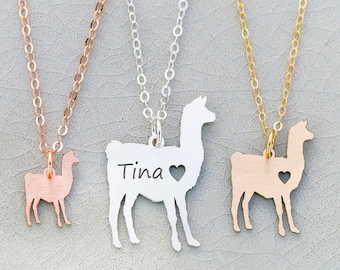Llama Necklace Pet Llama Gift Farm Animal • Personalized Pet Funny Gift Alpaca Farm Gift Engraved Name Pet Unique Gag Gift Mother's Day Gift