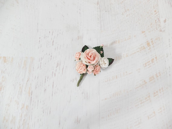 Blush pink white flower boutonniere button hole wedding like this item mightylinksfo Image collections
