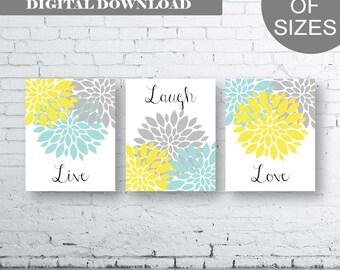 Bathroom Print Art - Live Laugh Love - Aqua Grey Yellow Art- Aqua Grey Yellow Flower Bathroom. Yellow and Aqua Floral Art