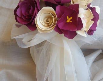 Purple Ivory Tulle Bridal paper Bouquet