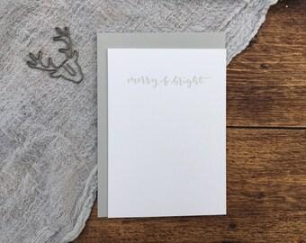 Merry & Bright Christmas Letterpress Card. Christmas Card. Greeting Card. Letterpress. Grey Christmas Card. Simple Card.
