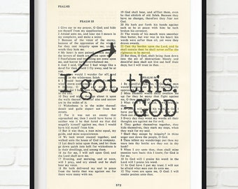 Vintage Bible page verse scripture - I Got This. -God - Psalm 55:22 Cast your Cares ART PRINT, UNFRAMED, dictionary page christian gift