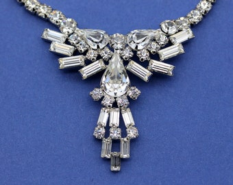 SHERMAN Vintage Signed Clear Rhinestone Necklace with Dazzling Teardrop Baguette Triangular-Shaped Drop