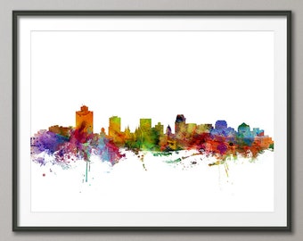 Salt Lake City Skyline, Utah Cityscape Art Print (1250)