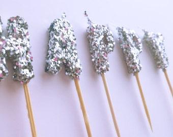 """Mini """"Happy Birthday"""" Candles, Silver Glitter candles- Silver Glitter Birthday Party Decor-Happy Cake Topper- Silver Cupcake Picks"""