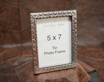 tin photo frame 5x7 hand punched New Mexican tinwork Jason Younis y Delgado www.newmexicotinwork
