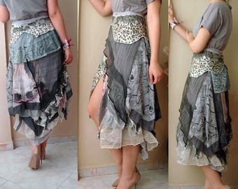 Art to wear Boho wrap skirt, Festival Wear, tattered skirt, Layered look fairy costume. recycled upcycled clothing