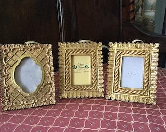 Set of Three Vintage Baroque Style Mini Frames