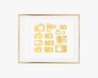 Camera Collection Gold Foil Print- Real Foil