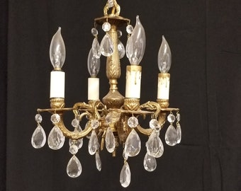 MINI Chandelier, Brass and Crystal Vintage Chandelier, Tiny