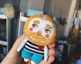 Little Beardy-trinket with yellow beard - Home decor - Collectible doll
