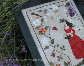 FRESH STRAWBERRIES - official printed ross stitch pattern, The Snowflower Diaries, sampler, primitive, red