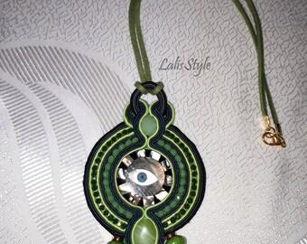 Handmade green soutache pendant