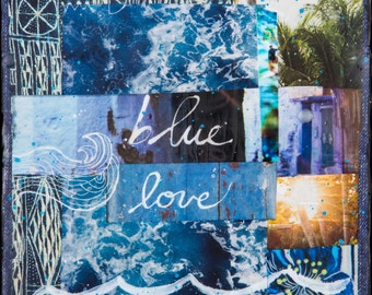 GLASSED, Blue Love, 4x4 and Up, Hand Painted, re-collaged, wood panel, Ocean, Waves, blue, tropical, hand made, wall art, gift