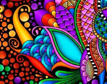 Pre Order Mid Aug - Carnivale Floral Geometric - Debi Payne - Quilting Treasures - 1 yard - More on Order - BTY