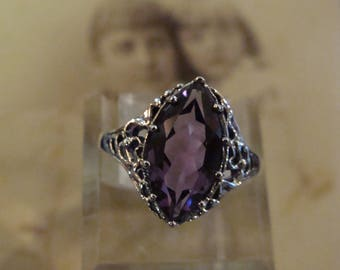 Sweet Sterling Silver Marquis Natural Brazilian Amethyst ring Size 7