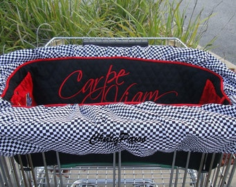 NASCAR Dog Cart Cover - Shopping Cart Cover for Dogs - Seize the Road - Nascar Fans - Ready to Ship -  with tote - no personalization