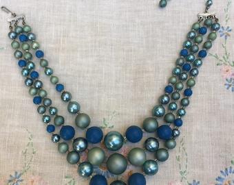 Vintage Blue Bead Triple Necklace