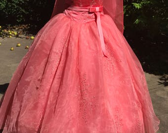 Coral Quinceanera Dress- Quinceanera Gown- Custom-made Quinceanera Dress- Strapless Quinceanera Dress