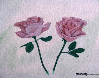 Deep Pink Roses - 5X7 Archival Giclée Print - Watercolour Archival Print - Roses. Thorns. Flowers. Floral. Roses. Deep Pink.