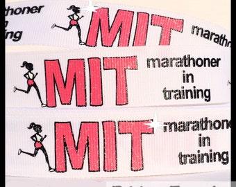 5 yds GLITTER Marathoner in Training on White Grosgrain Ribbon Runner Running