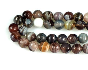 Faceted round botswana agate beads, 8 mm gemstone beads, semiprecious stones, jewelry design, wholesale beads B80