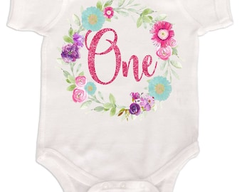 Baby Girls First Birthday Bodysuit 1st Birthday Outfit Floral Wreath with Glitter Girls Birthday Shirt Floral Number One Shirts