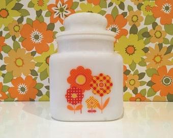 Retro Floral Gingham Vintage Milk Glass Jar Orange Flowers Campervan Kitsch