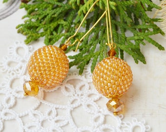 Gold Beaded ball earrings Inspiration jewelry dangle earrings minimalist earrings Inspiration jewelry tribal jewelry