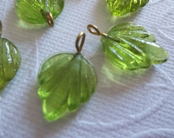 Olive Green Glass Leaf Charms Beads Leaves with Brass Loops 15mm X 12mm - Qty 12