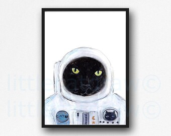 Space Cat Print Astronaut Black Kitty Cat Watercolor Painting Print Cat Art Print Space Suit Cat Lover Gift Wall Art Wall Decor Unframed