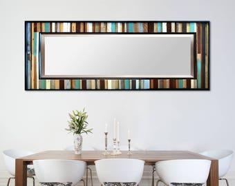 "Reclaimed Wood Leaner Mirror - Floor Mirror - Modern Wood Wall Art ""Reclaimed Reflection""- 32x78"" - Abstract Wood Art - Reclaimed Mirror"
