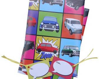 """Mini Cooper car inspired """"pop art"""" gift wrapping, 2 sheets with co-ordinating gift tags"""