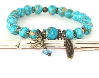 Om Bracelet, Turquoise Stretch Yoga Bracelet,  Serenity, Strength & Hope Spiritual Jewelry