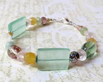 Bracelet pink and green stones. HALF PRICE SALE. Take 50% off.