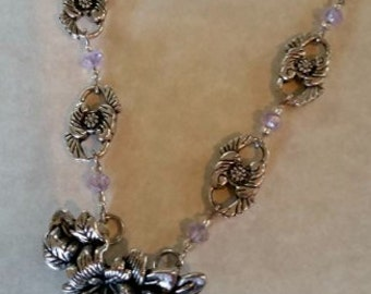 Silver Necklace Floral Filigree #191 One Of A Kind