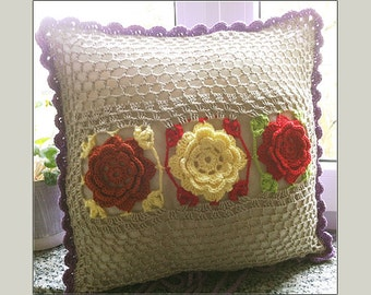 Decorative Pillowcase,Handmade,schabby chic vintage,Rosen,Original,patchwork,crochet,knitted,home decor,decoration,original,designer,beige