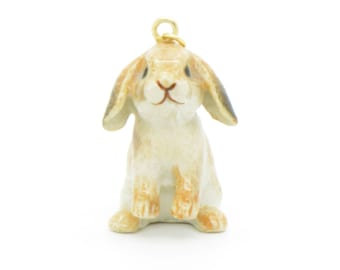 1 - Porcelain Bunny Pendant Hand Painted Glaze Ceramic Animal Small Ceramic Rabbit Bead Vintage Jewelry Supplies Little Critterz (CA087)