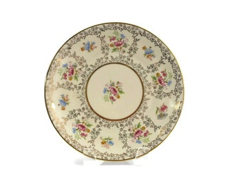Bavaria Dessert Plate, Hand Painted Porcelain, Floral and Gold Filigree, Seltmann Weiden, Germany, c1920s, Vintage China Plates